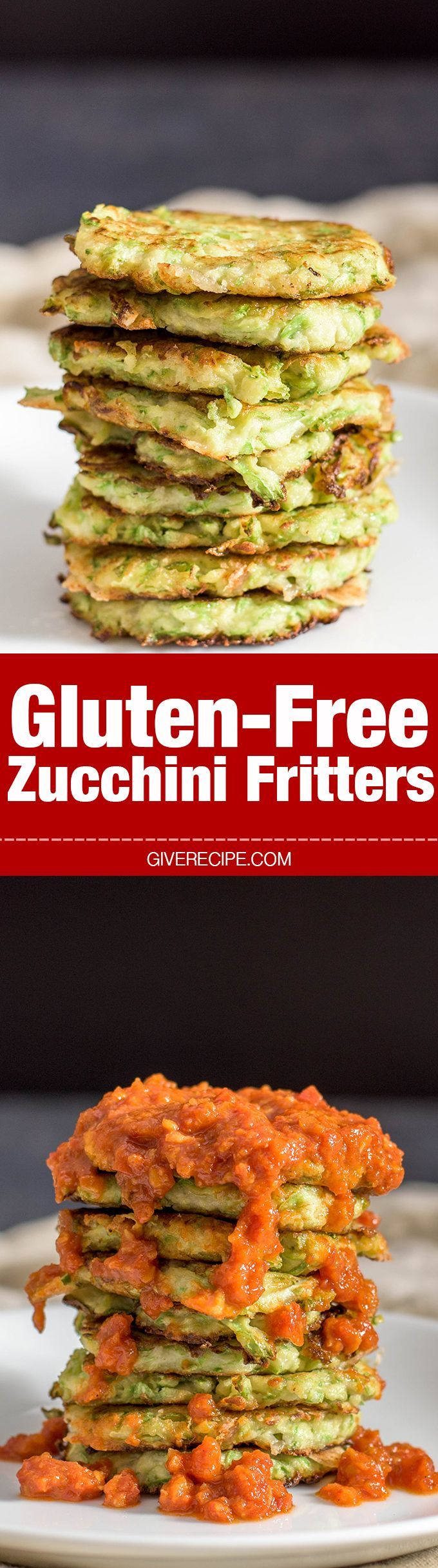 Gluten-free Zucchini Fritters are loaded with mozzarella and flavored with garlic. Serve it with an amazingly tasty tomato sauce.- giverecipe.com