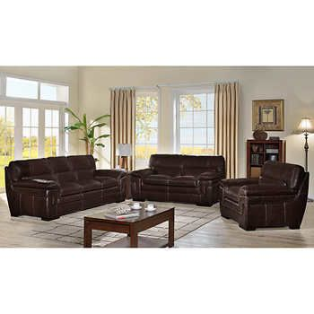 Madera 3-Piece Top Grain Leather Living Room Set