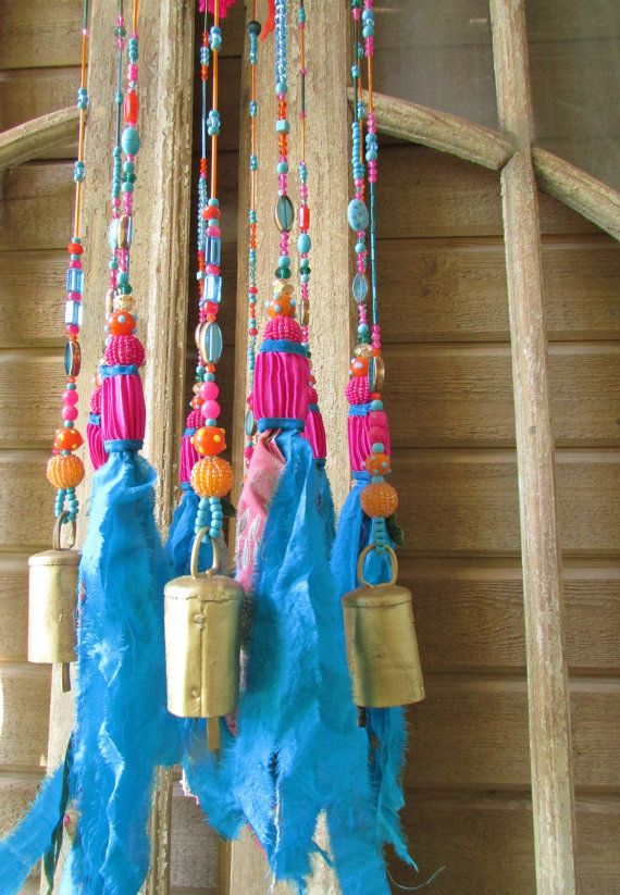 Wind chime garden art-turquoise mobile Bells-Wind Chime-unique