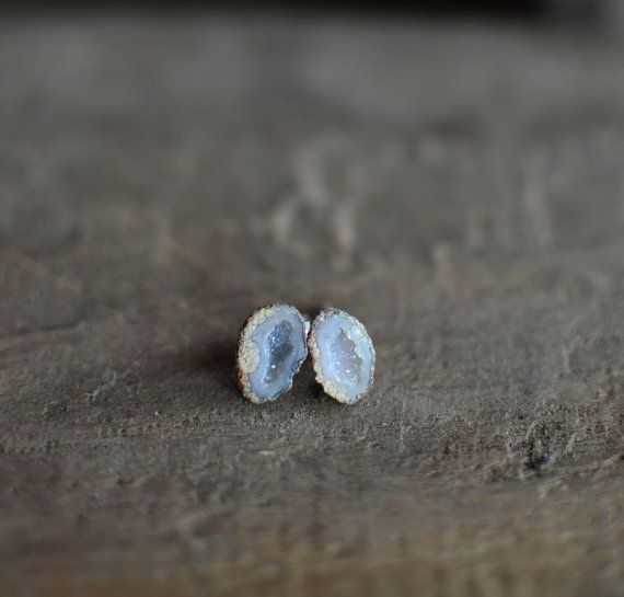 Tabasco Geode Post Earrings. Natural Druzy Geode Stone Small Earrings. Unique Gift. Minimalist Jewelry.