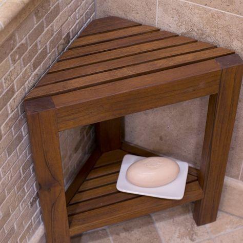 belham living corner teak shower bench with shelf bathtub u0026 shower accessories at hayneedle - Shower Benches