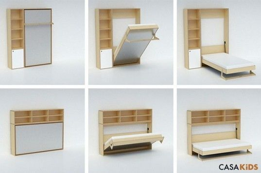 Casa Kids39 Tuck Bed Folds Away To Save Space Inhabitots Kids Fold Up Beds Kids Fold Up Beds