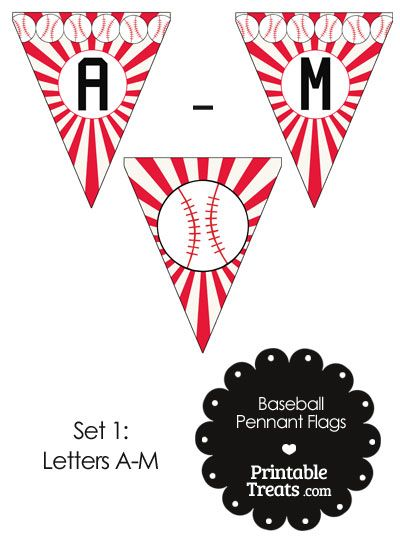 Red Baseball Pennant Banner Flag Letters A-M from PrintableTreats.com