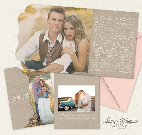 Mint And Rose Tri Fold Wedding Invitation