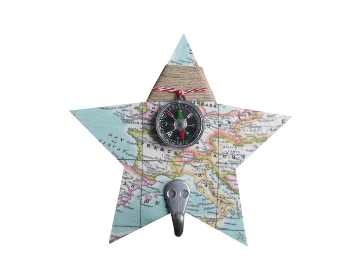 kapstok ster wereldkaart voor jongenskamer / kinderkamer. www.kids-ware.nl #kidsroom #maps