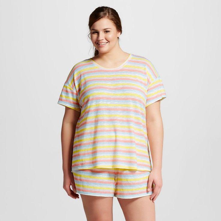 Women's Plus Size T-Shirt Pajama Set Rainbow Moxie Peach 3X - Xhilaration, Size: 3XL
