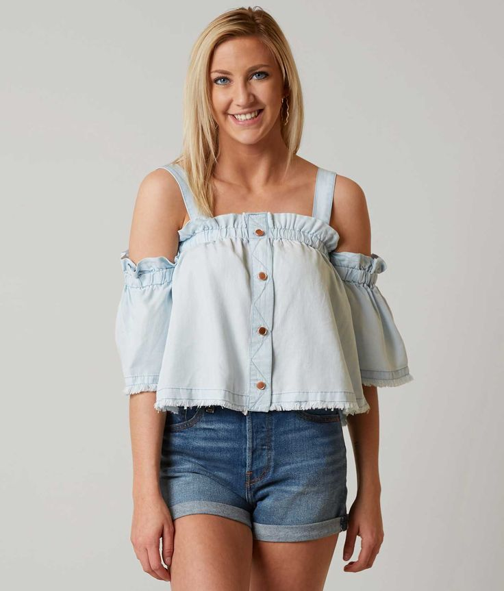 willow & root Off The Shoulder Top - Women's Shirts/Blouses in Light Denim | Buckle