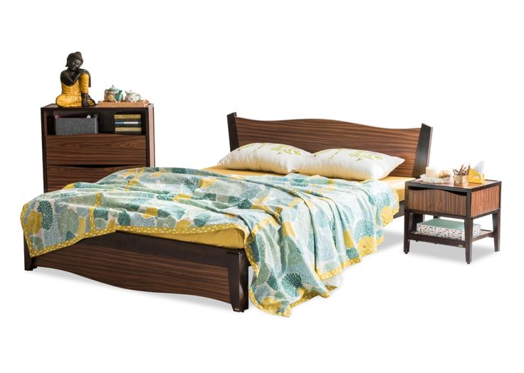 The Mills Manual Queen Bed from Durian is a Contemporary bed with a delectable combination of solid wood and textured laminate.