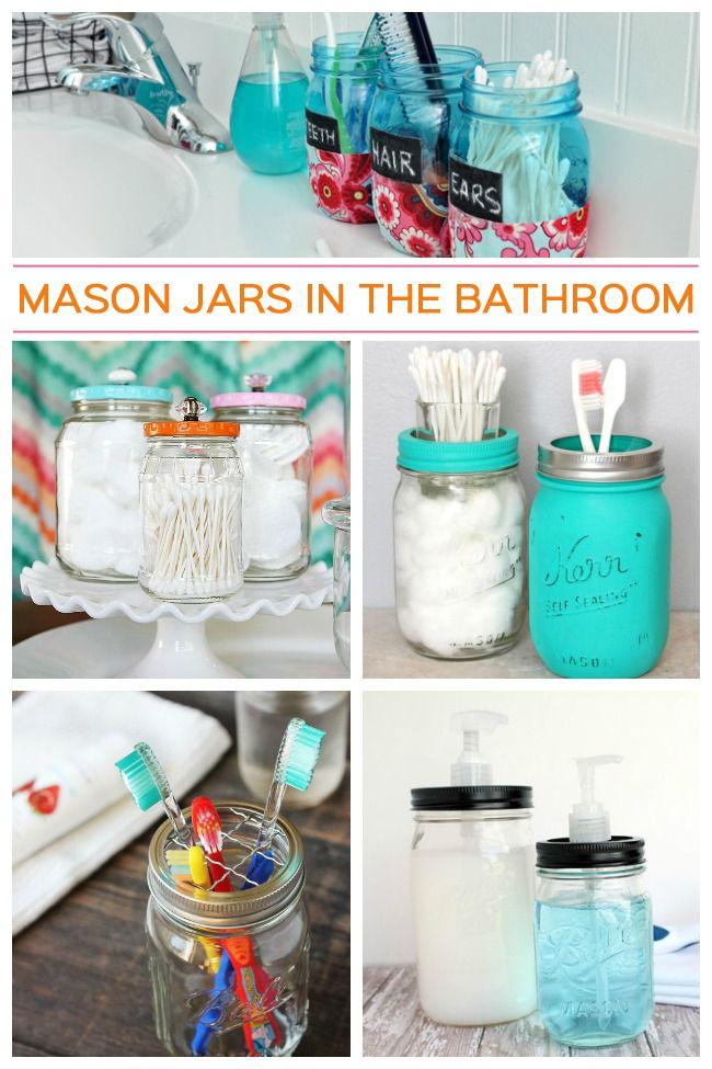 10 Mason Jar Ideas for The Bathroom - Get supplies at Flower Factory - www.flowerfactory.com