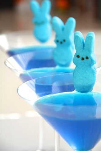 Peeps Peach Pool. #easter cocktail!!! Blue Peeps are such a great garnish!