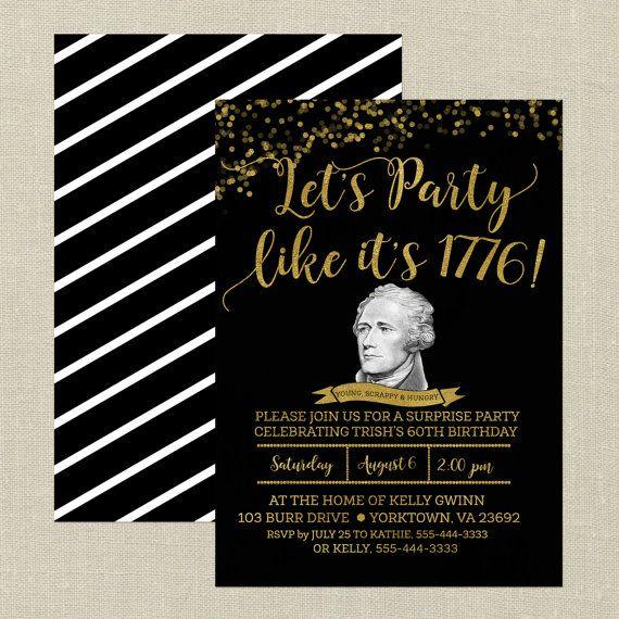 Invito di compleanno di Hamilton nero e oro di RevelPress su Etsy