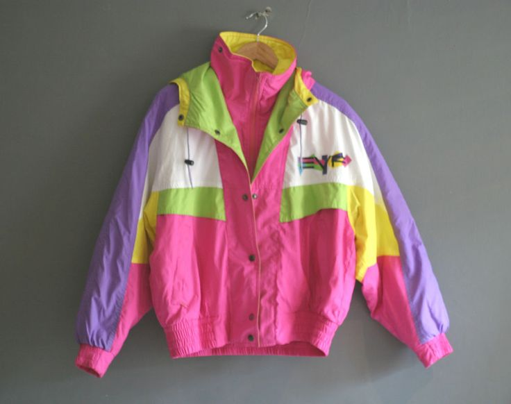 VINTAGE 80S BRIGHT NEON SKI JACKET RETRO 1980S SHELL SUIT TOP