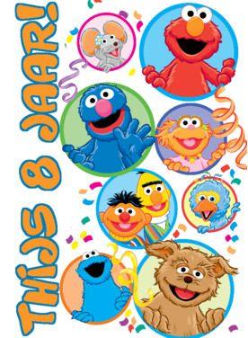 Verjaardagskaart met Sesamstraat vriendjes- Greetz