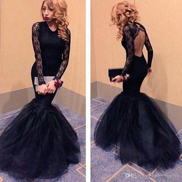 Prom dresses black backless bar