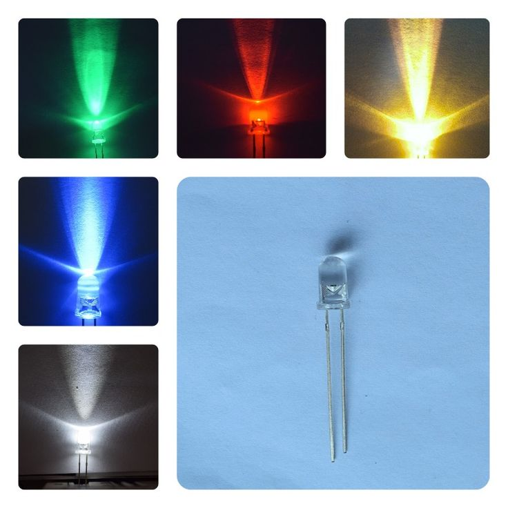 red green blue yellow white dip 5mm round led diode