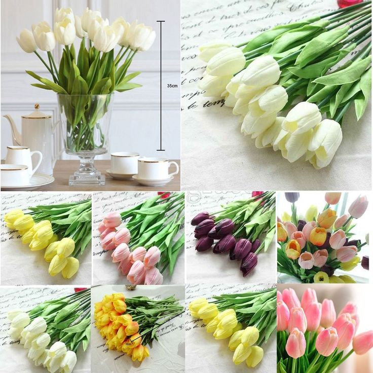 Tulip Artificial Flower Latex Real Touch Bridal Wedding Bouquet Home Decor,10pcs #Unbranded