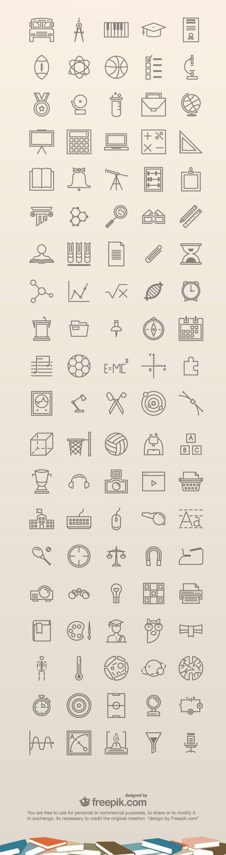100 Free Education #Icons: