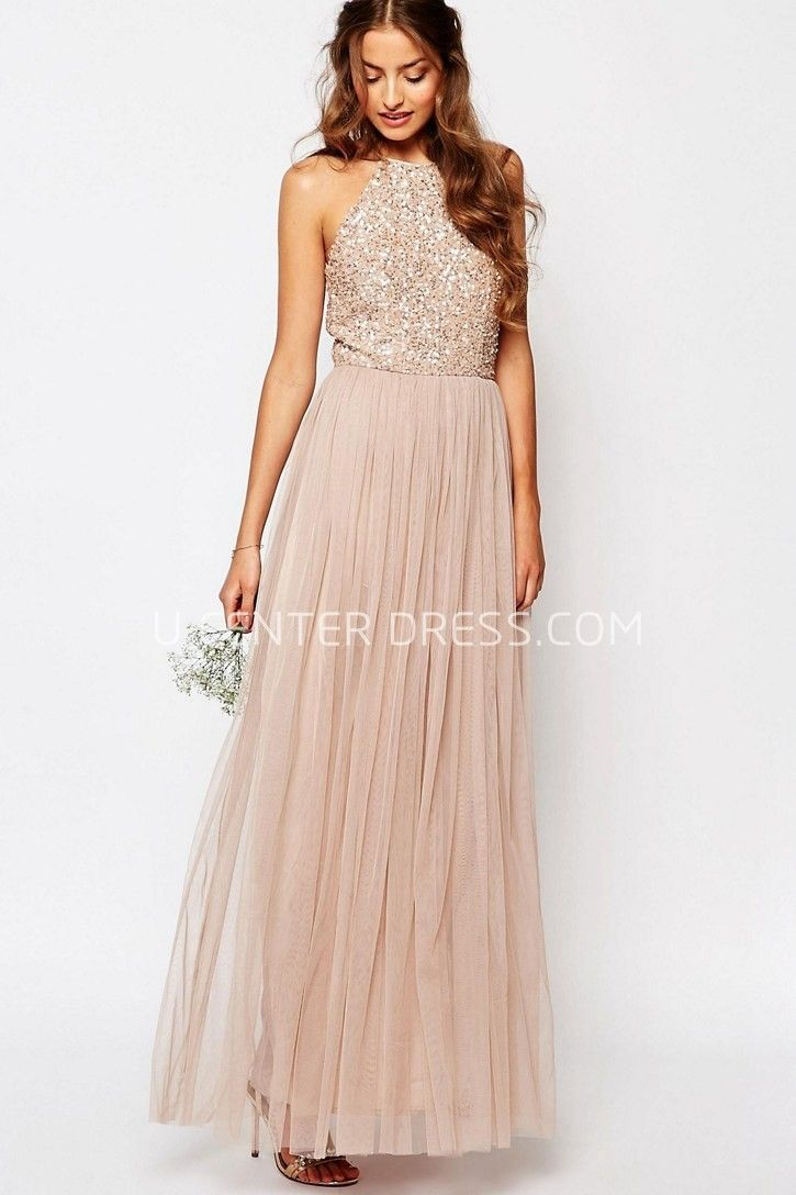 Ankle Length A Line High Neck Beaded Sleeveless Tulle Bridesmaid Dress Fall Wedding Guest