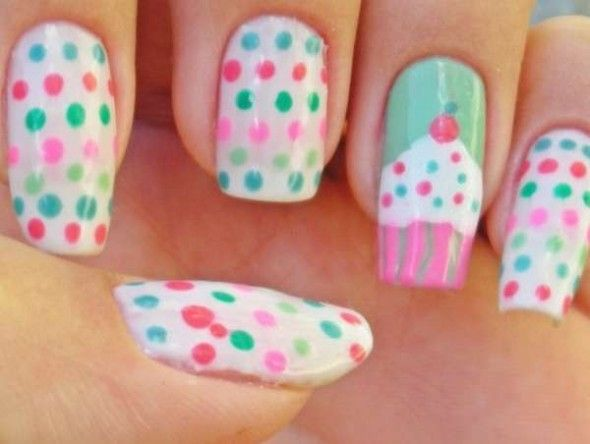 The warm colors like orange, pink, red, blue and yellow are the first choice for this type of cupcake nail.The Cutest Nail,Easy Cute Nail,Cute Nail Designs Pictures of Cute Nails,Really Cute Nail Designs,Cute at Home Nail Designs,31 Nail Designs for Summer,Cute Nail Styles for Teens