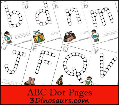ABC Dot Fine Motor Activity | 3 Dinosaurs