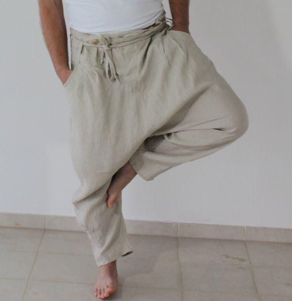 Unisex White/ Beige  Linen  Pants/ White linen pants / man linen pants