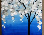 "Blue and Grey Textured Tree Art, Original Painting on Canvas, 20x24"" READY TO SHIP"