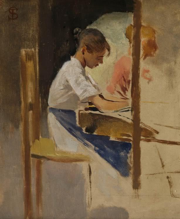 """Sketch for """"Straw Weavers at Settignano"""" by Telemaco Signorini."""