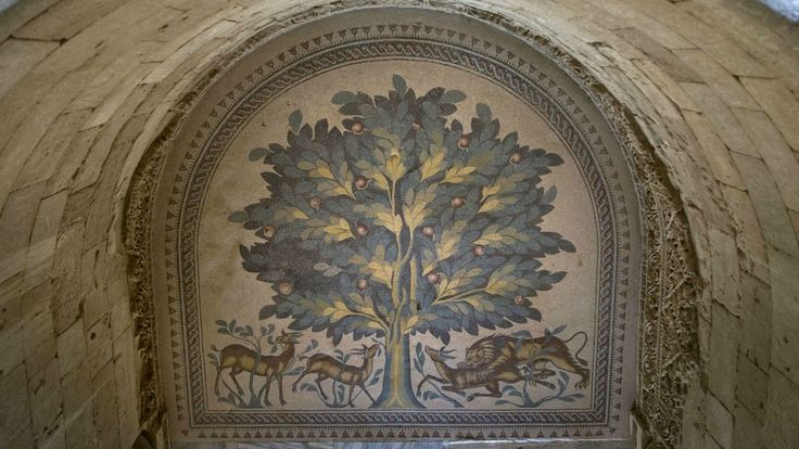 A Tree Of Life mosaic is shown at the site of a 7th century, 827 square meter (8,900 square ft) mosaic ahead of the opening ceremony at the Islamic archaeological site of Hisham Palace, in the West Bank city of Jericho, Thursday, Oct. 20, 2016. (AP Photo/Nasser Nasser)
