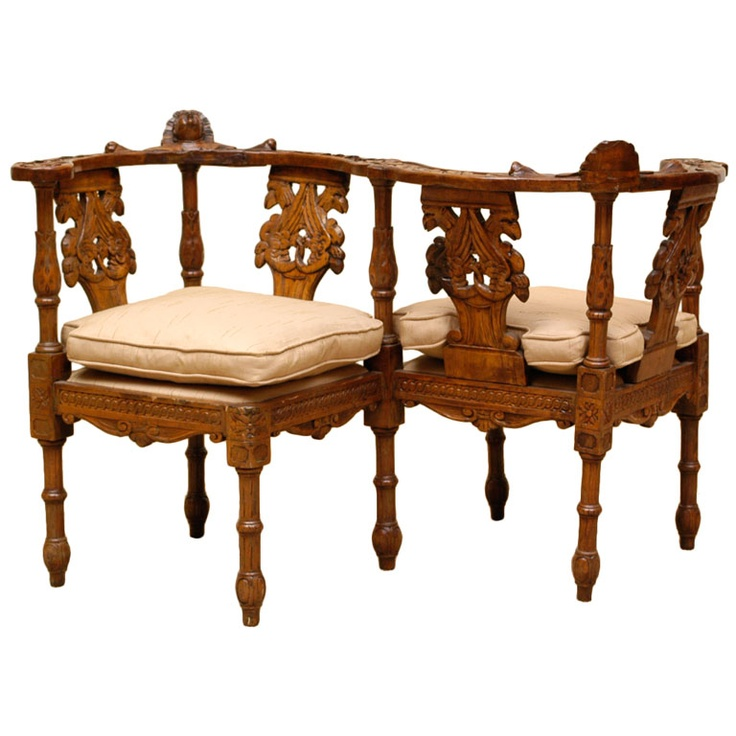Early 19th C Italian Carved Walnut Tete A Tete