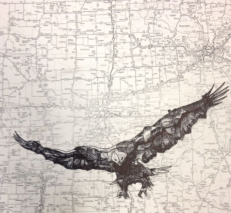 Pen and Ink drawing on a map by Adora Chen.