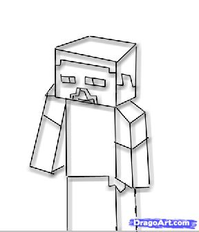 how to draw steve from minecraft step 3