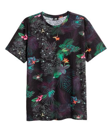 Camiseta | Negro/Estampado | Hombre | H&M CO