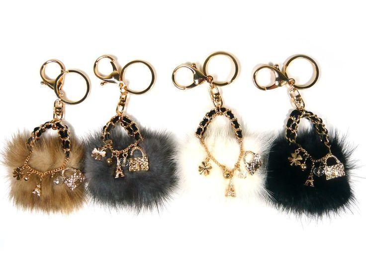 Mini Mink Fur Hand Bag Car Key Chain Ring Holder Charm Accessory Pendant Dangle #Jacc