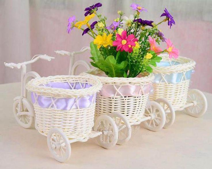 Bike Rattan Vase Basket Flowers Bowknot Flower Vase Flowerpots Containers #UnbrandedGeneric