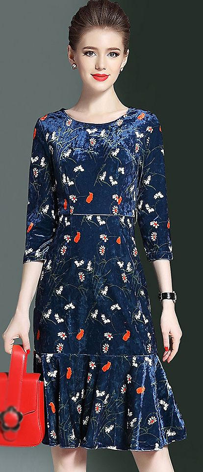 Fashion O-Neck Floral Print Falbala Mermaid Dress
