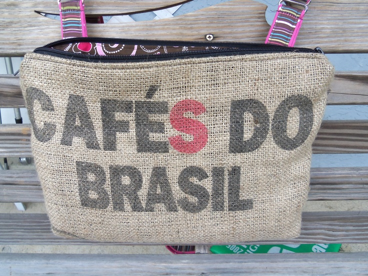 Coffe Burlap Sack made into a hipster bag by MessDesigns on Etsy, $50.00