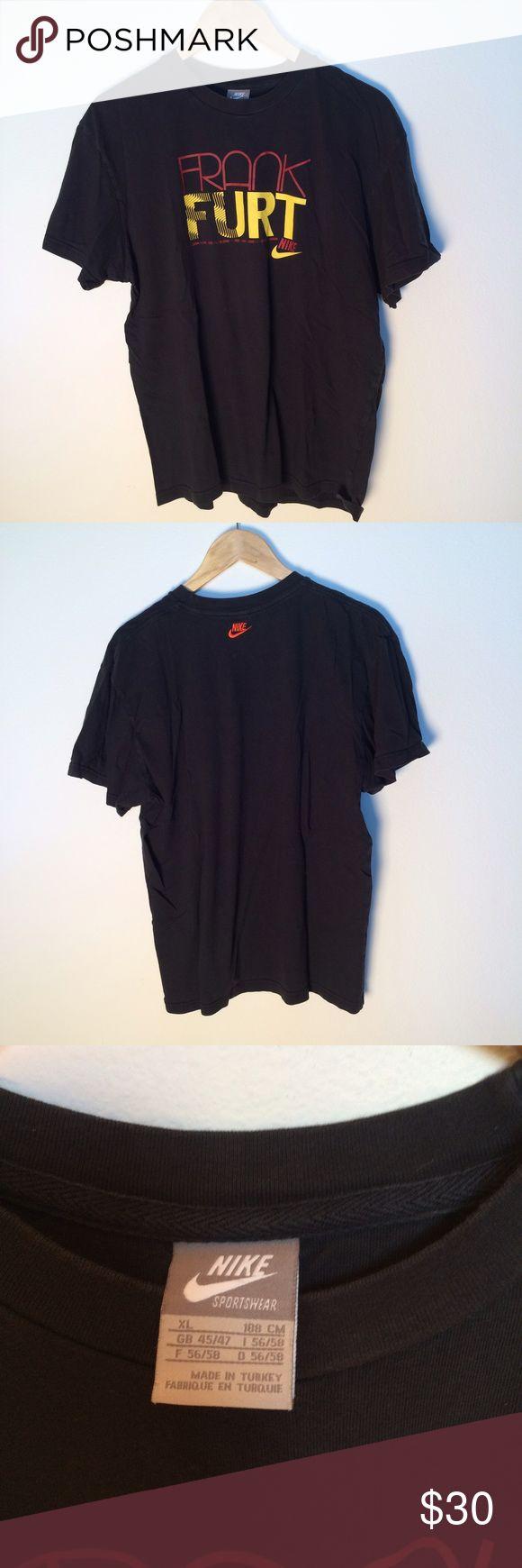 Vintage Nike Frankfurt Germany 🇩🇪 T-Shirt XL Blk Black Nike vintage shirt. Represents Frankfurt Germany! Size XL. Nike Shirts Tees - Short Sleeve