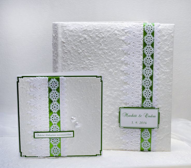 Wedding photo album and weddding card with handmade paper, satin laces and ribbons.