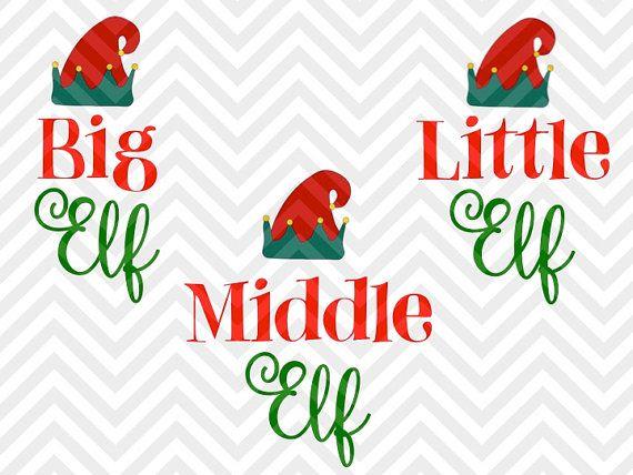 Big Elf Little Elf Christmas Kids brother sister naughty nice santa list christmas tree VG file - Cut File - Cricut projects - cricut ideas - cricut explore - silhouette cameo projects - Silhouette projects SVG and by KristinAmandaDesigns