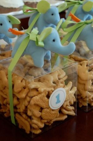 1st Birthday for a boy! SO CUTE! #1stbirthday #boy #baby #elephant by tracey: Party Favors, Animal Crackers, 1St Birthday, First Birthday, Showers Favors, Partyfavors, Birthday Favors, Birthday Party, Baby Showers