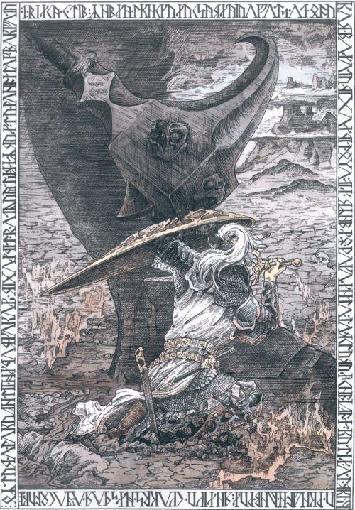 "dailiir: ""Fingolfin wounding Morgoth before his death. """