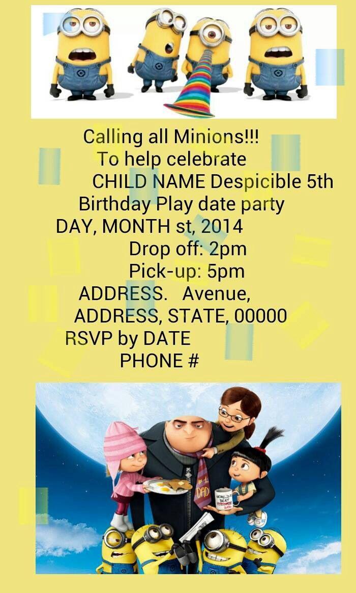 The 25+ best Minion party invitations ideas on Pinterest | Minion ...