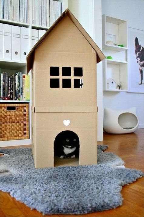 Your cat's dream home. | 31 Things You Can Make With A Cardboard Box That Will Blow Your Kids' Minds