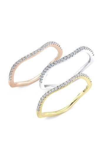 Bony Levy Wavy Stackable Diamond Ring (Nordstrom Exclusive) Pavé diamonds illuminate a wavy band handcrafted in shiny 18-karat gold.  Total diamond weight: 0.15ct.  Color: G.  Clarity: VS.  Diamonds/18k yellow or rose gold or18k white gold with rhodium plating.