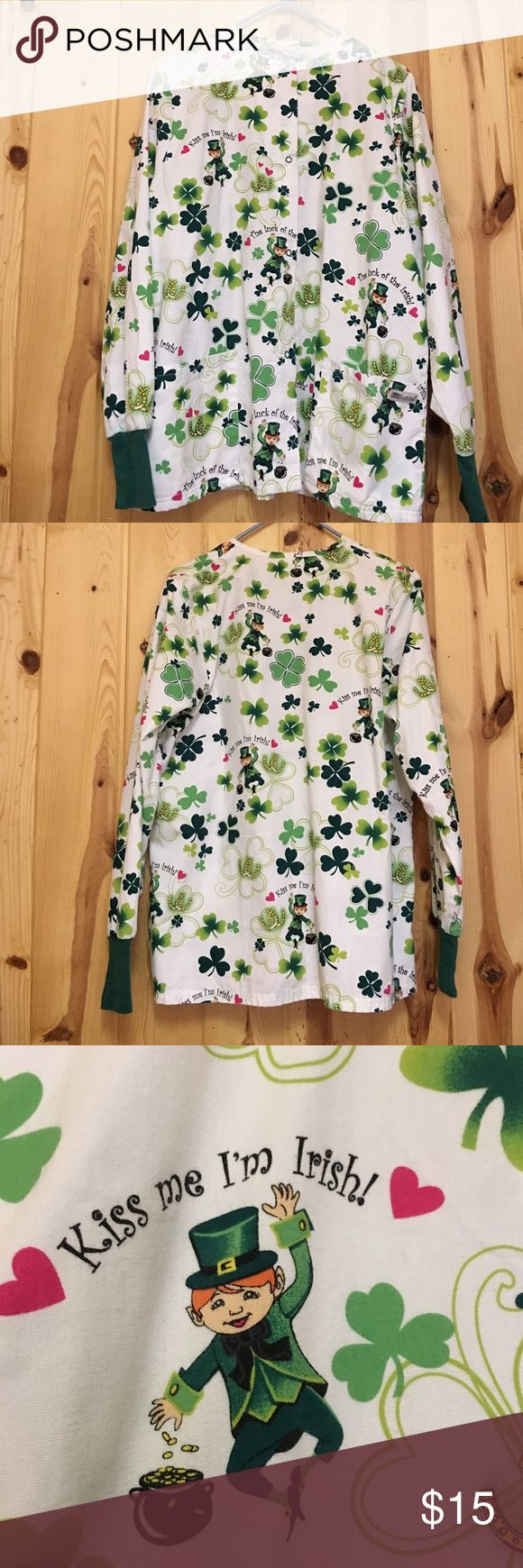 Kiss Me I'm Irish 🍀 Scrub Jacket by UA Scrubs Like New has 2 Front Pockets and snaps up the front Size tag is gone but I this is is a Small Could also fit a medium person Exclusively From My Closet Offers Welcome UA Scrubs Jackets & Coats