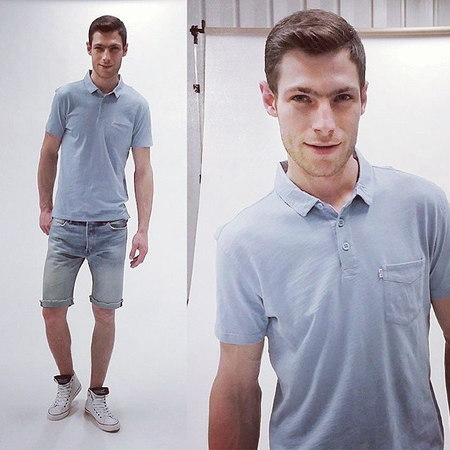 #levis #liveinlevis #newproduct #new #newarrivals #men #mencollection #jeans #denim #shorts #polo #tshirt #blue #studio #photosession #photoshoot #backstage #model #polishmodel