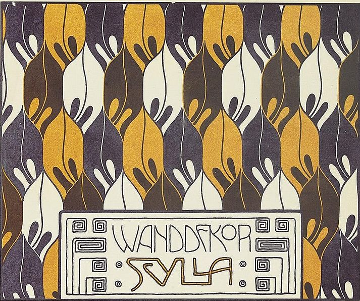 "Pattern design by Koloman Moser(1868-1918), 1901, ""Flächenschmuck, Die Quelle,"" Vienna. #tapestrie #wallpaper #fabric"