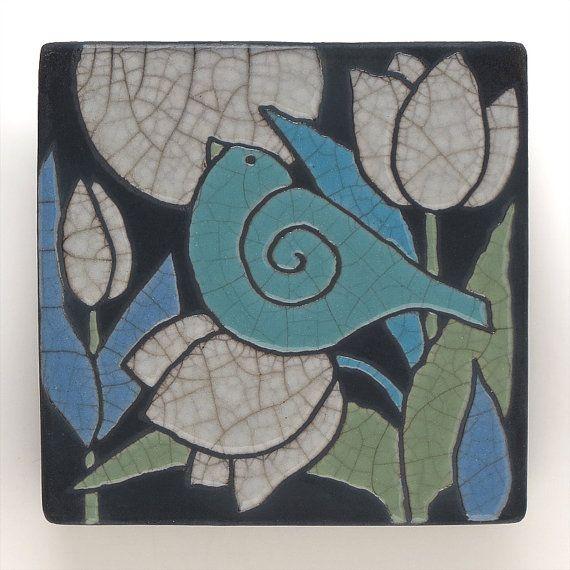 Bird Ceramic tile white flowershandmade 4x4 raku by DavisVachon, $35.00