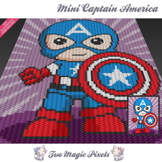 Mini Captain America inspired crochet blanket pattern; knitting, cross stitch…