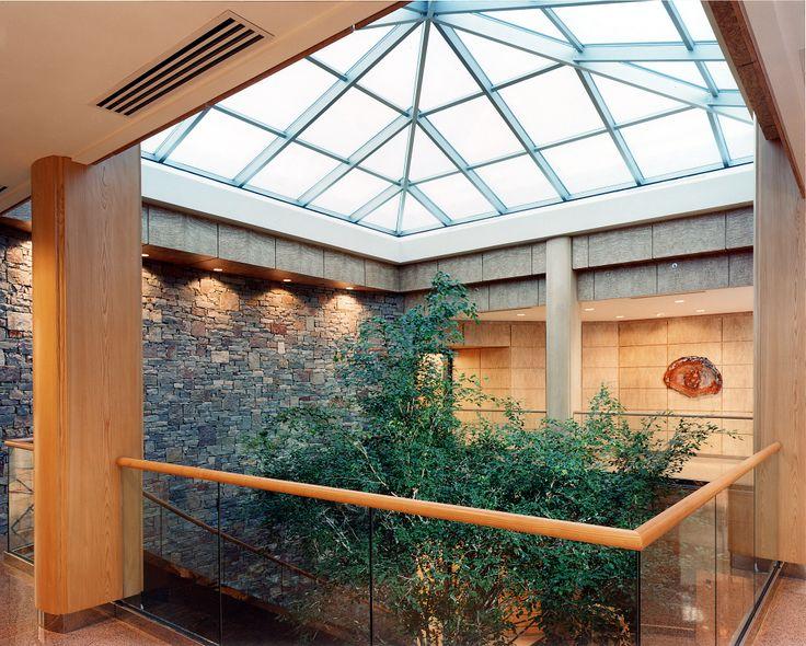 Atrium with Fichus Tree and Sen Flat Cut on columns #sen #veneer #woodveneer #bohlke